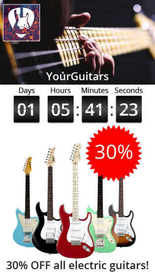 Smart SMS offer promoting a discount on electric guitars with a countdown timer