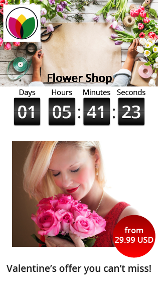 Smart SMS offer promoting a special valentine offer with a countdown timer