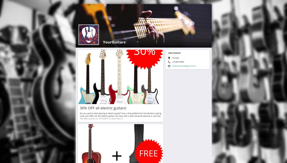 Business page of a guitar store promoting special offers