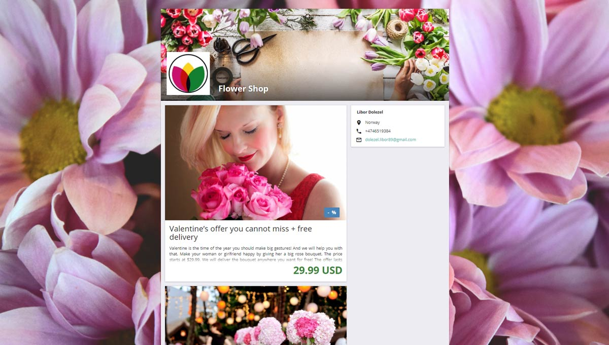 Business page with flowers