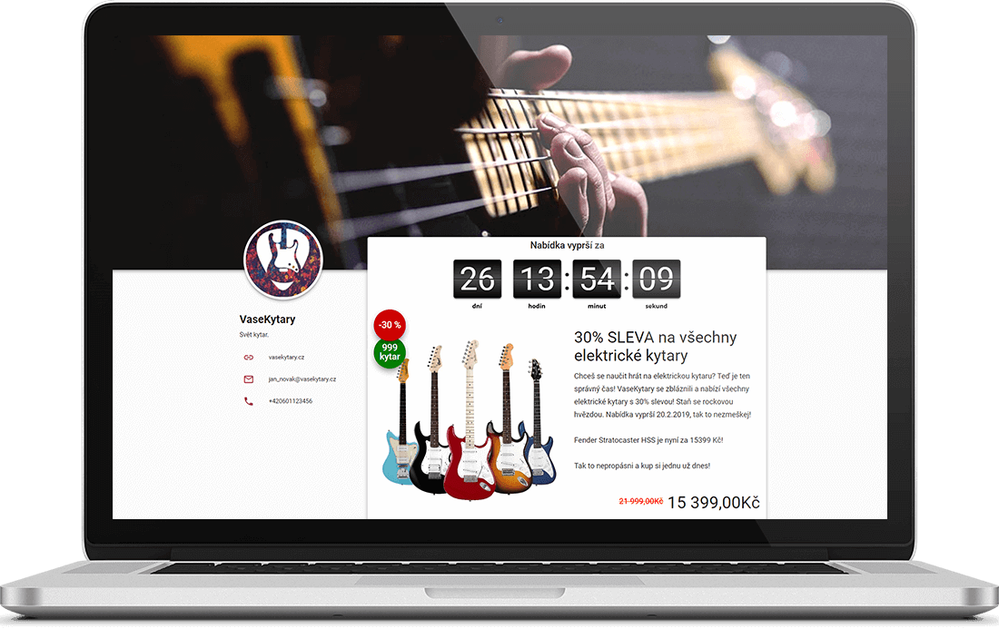 Pagină de afaceri cu chitare