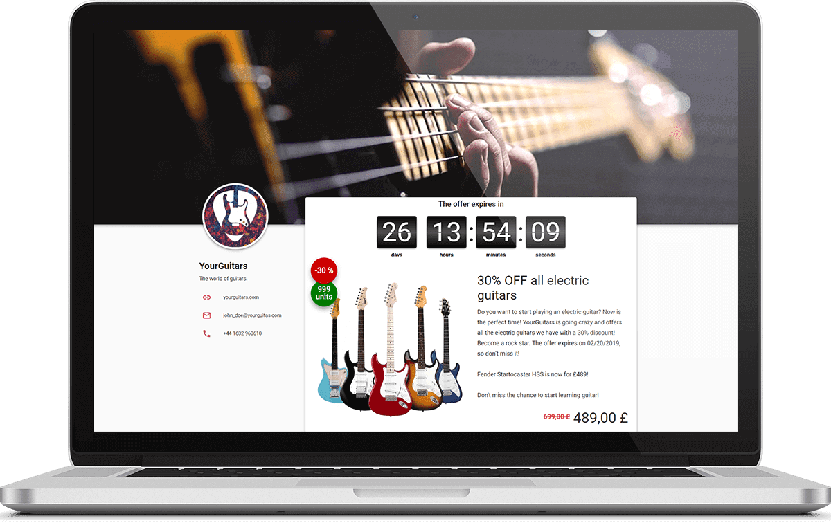Business page with guitars