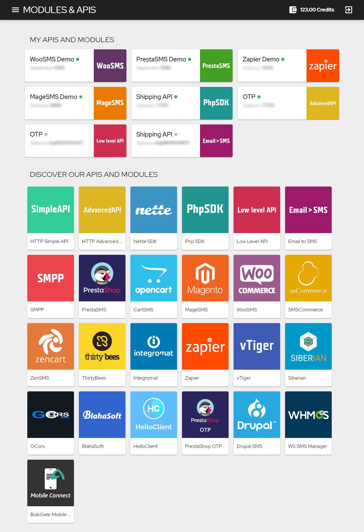 API e módulos do portal da Web
